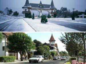 Día de verano e invierno con nieve en Gramado