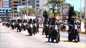 El resguardo policial en las playas de Fortaleza.
