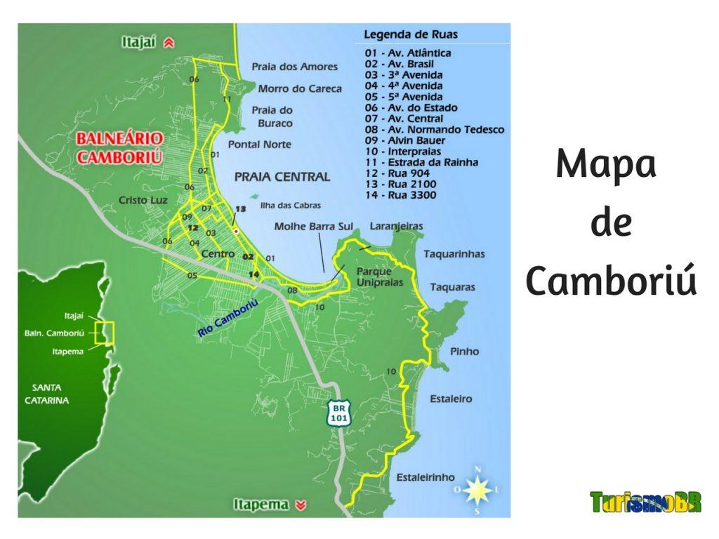 Mapa de Camboriú - Turismo Brasil