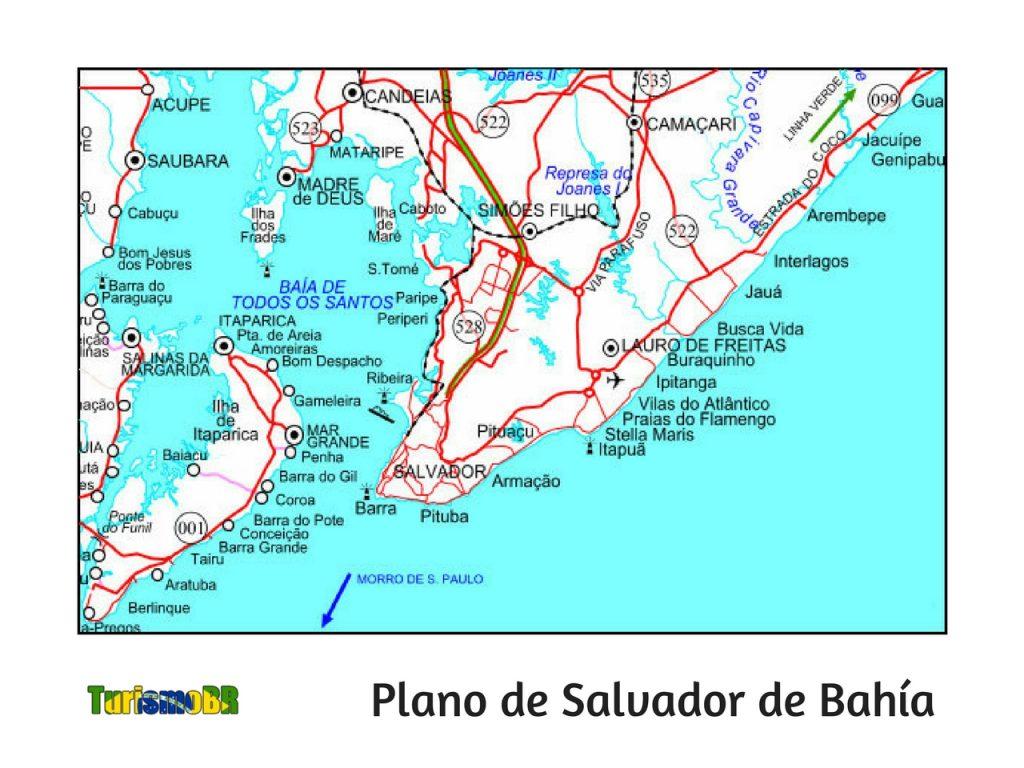 Mapa De Salvador De Bahía Turismo Brasil